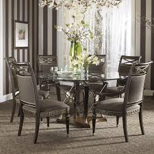 formal grecian style glass top dining set with six chairs by fine from modern round