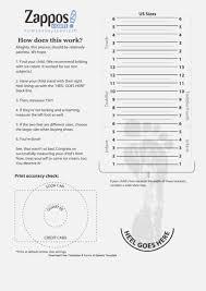 Zappos Printable Shoe Size Chart 38 Epic Printable Foot Measure Paigehohlt