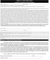 Liability Release Form — College Avenue Church Of The Nazarene