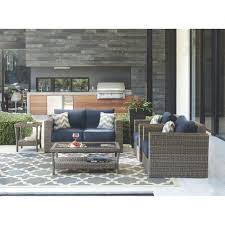 naples grey 4 piece all weather wicker patio deep seating set with navy cushions