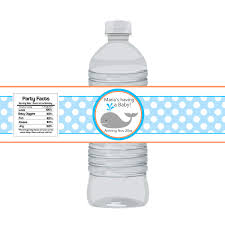 Nautical Bottle Wrap  Baby Blue Polka Dots And Orange Whale Baby Baby Boy Shower Water Bottle Labels