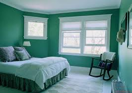 The amazing Persian green bedroom color scheme with white ceiling and  Viridian bed - remarkable bedroom