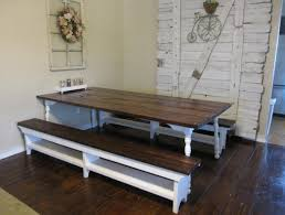 Painted Kitchen Table Kitchen Gorgeous White Painted Kitchen Table With Bench Wooden