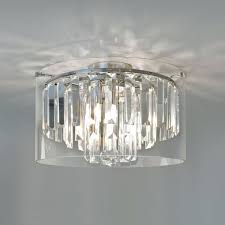 modern bathroom chandelier with crystal glass droplets and surround ceiling light fixtures