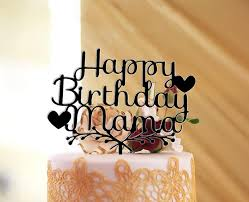 Glitter Goldsilver Happy Birthday Mama Cake Topper Acrylic Cake