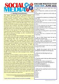 SOCIAL MEDIA - 10th grade test | Education | Pinterest | English ...