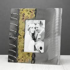 steel and bronze rectangle photo frame small by