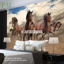 Peel And Stick Wall Decor Running Horses Wall Mural Self Adhesive Peel Stick Photo Mural