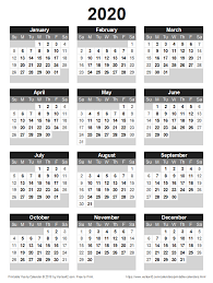 Download A Free Printable 2020 Yearly Calendar From Vertex42
