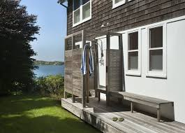 P Outside Shower Patio Beach Style With Grass Mounted Outdoor Showers