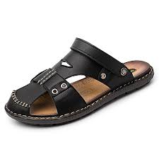 men s beach water shoes closed toe leather sandals