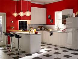 beautiful red wall paint schemes retro kitchen ideas displaying u shaped white lacquer wooden kitchen island