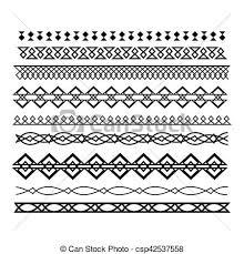 Set Of Vector Borders And Lines Horizontal Geometric Ele