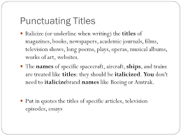 capitalization punctuating titles ppt  punctuating titles