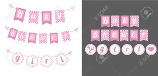 Printable Template Flags Banner Baby Shower Party Its A Girl