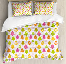 winter duvet cover set lively trees with diffe patterns snowflakes polka dots stars chevron decorative bedding set with pillow shams