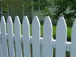 White Picket Fence Designs With Simple Front Yard Picket Fence