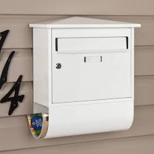 Castle Locking Wall Mount Mailbox with Newspaper Roll Outdoor