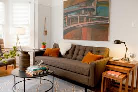orange living room furniture. Modern Sofa With Orange Pillows Living Room Furniture S