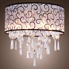 elegant white drum chandelier 12 moden fabric with frozen dark brown flroal motif design crystals decoration dining room pendant lighting interior light