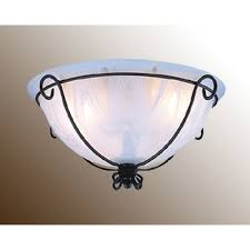 wrought iron around a marble bowl ceiling fan light