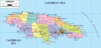 detailed political map of jamaica  ezilon maps