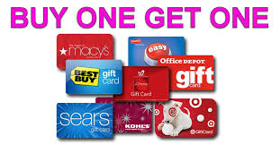 huge list of one get one gift card deals over 70 free gift cards