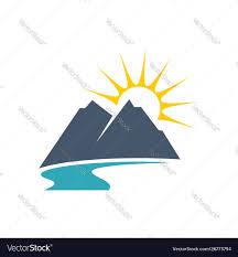 Free Vector Design Eps Mountain River And Sun Logo Template Design Eps 10
