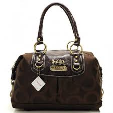 Coach Madison In Signature Medium Coffee Satchels AAY