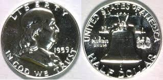 1959 Franklin Half Dollar Value Chart Half Dollar 1959 Usa Franklin Superb Gem Proof