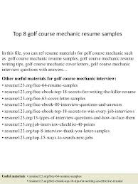 Golf Course Resume Examples Best of Mechanic Resume Sample Lifespanlearn