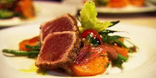nicoise salad with sweet potatoes and ahi tuna