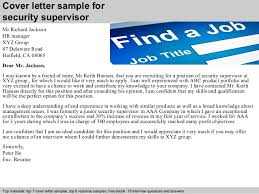 Security Supervisor Cover Letter Security Supervisor Cover Letter