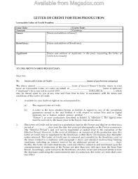Film Production Letter Of Credit Legal Forms And Business