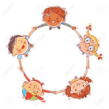 Multinational Group Of Children Five Kids Joining Hands To Form