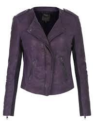 muubaa zaire leather collarless biker jacket in plum
