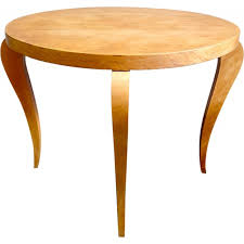 round coffee table in light wood