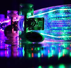 Light Up Longboard Wheels The Ridge Aurora Light Up Deck And Wheels Mini Cruiser In