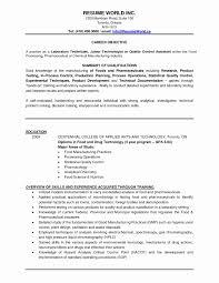 Quality Control Resume Sample Beautiful Process Technician Resume