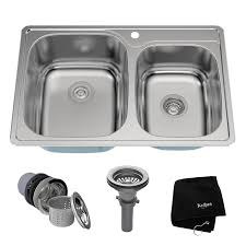 double bowl kitchen sinks double bowl kitchen sinks from 16 gauge stainless steel kitchen sink top mount