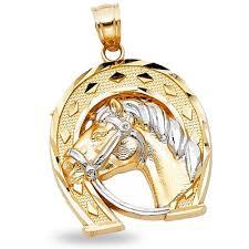 14k solid yellow white gold horseshoe horse head pendant polished charm