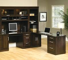 desk angelica sauder office port executive desk 5 piece set the furniture co dark alder