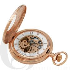gold plated demi hunter case mechanical pocket watch rose gold plated demi hunter case mechanical pocket watch