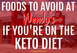 red image overlay with text showing keto wendy s items to avoid when ordering