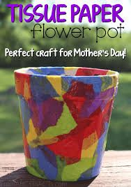 Glace Paper Flower Tissue Paper Flower Pot Springtime Crafts For Kids From