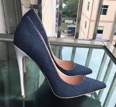 chic beautiful navy blue casual pumps 2019 leather 12 cm sti heels pointed toe pumps 606x560 jpg