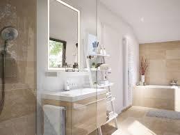 Badezimmer Modern Mit Dachschräge Waschtisch Mit Holz Fliesen