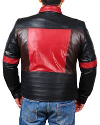 star patch mens leather jacket