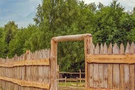 wood farm fence. A Rustic Stockade Fence Used In Farm Setting. Wood U