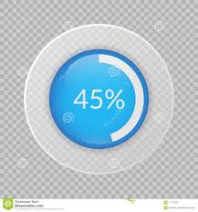 45 Percent Pie Chart On Transparent Background Percentage